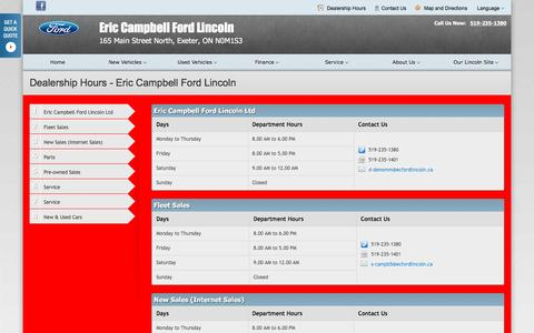 Screenshot of Hours Page ericcampbellfordlincoln.ca - Dealership Hours at Eric Campbell Ford Lincoln - Your Exeter, Ontario Ford dealer - captured March 11, 2016