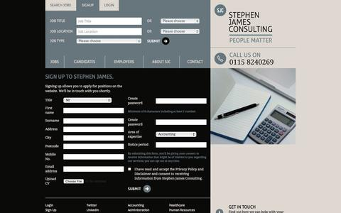 Screenshot of Signup Page stephenjamesconsulting.co.uk - Stephen James Consulting - Professional recruitment solutions - captured Oct. 7, 2014