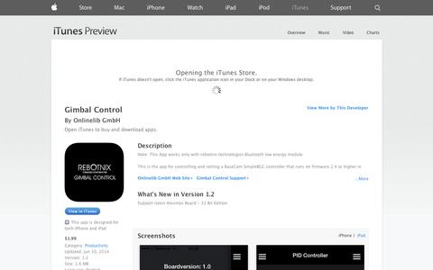 Screenshot of iOS App Page apple.com - Gimbal Control on the App Store on iTunes - captured Nov. 3, 2014