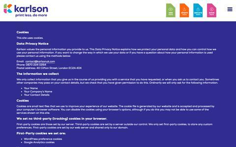 Screenshot of Privacy Page karlsonuk.com - Privacy Policy - Karlson - captured Nov. 6, 2018