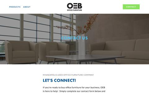Screenshot of Contact Page oebinc.com - Contact — OEB   Used Office Furniture Minneapolis - captured Oct. 18, 2018
