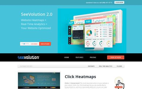 Screenshot of Home Page seevolution.com - SeeVolution, Inc. Providing website heatmaps and real time analytics for the global user - captured July 11, 2014