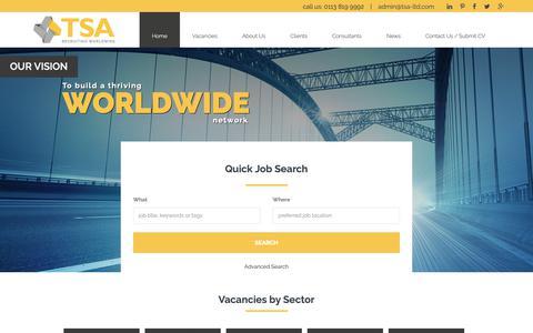 Screenshot of Home Page tsa-ltd.com - TSA Ltd | Construction Recruitment | White-Collar | Blue-Collar - captured Oct. 18, 2018