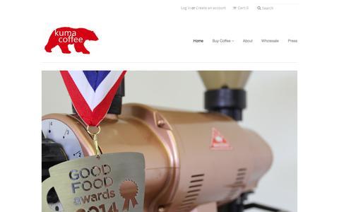 Screenshot of Home Page kumacoffee.com - Kuma Coffee - captured Jan. 26, 2015