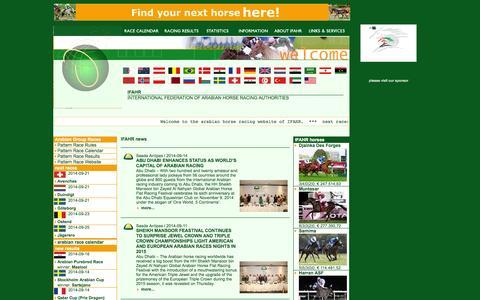 Screenshot of Home Page ifahr.net - INTERNATIONAL FEDERATION OF ARABIAN HORSE RACING AUTHORITIES - captured Sept. 19, 2014
