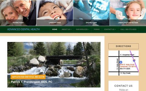 Screenshot of Home Page advanceddentalhealthdenver.com - Home - Advanced Dental Health, Dr T. Prendergast, DDS, PC - captured Sept. 20, 2015