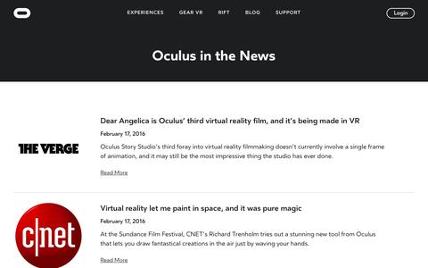 Screenshot of Press Page oculus.com - News | Oculus - captured July 8, 2016