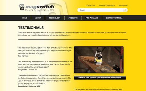 Screenshot of Testimonials Page magswitch.com.au - Testimonials - Magswitch - captured Oct. 4, 2014