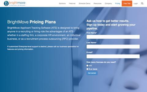 Screenshot of Pricing Page brightmove.com - BrightMove ATS Plan Comparison with Pricing | BrightMove - captured Aug. 3, 2018