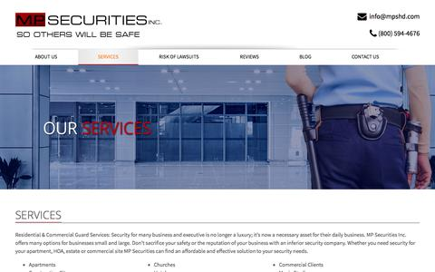 Screenshot of Services Page mpshd.com - MP Securities Inc. Security Guard Services | mpsecurity - captured Oct. 4, 2014