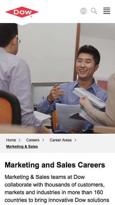 Screenshot of Jobs Page  dow.com - Marketing & Sales Careers   Dow