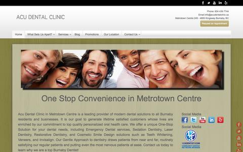 Screenshot of Home Page acudentalclinic.ca - Acu Dental - One stop convenience in Metro Town Centre - captured Oct. 4, 2014