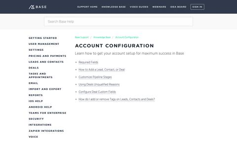 Screenshot of Support Page getbase.com - Account Configuration – Base Support - captured Oct. 9, 2018