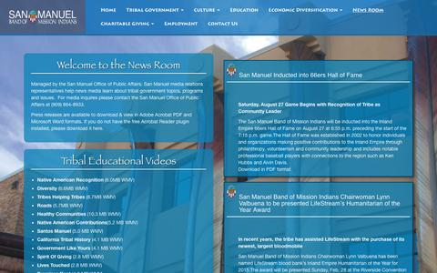 Screenshot of Press Page sanmanuel-nsn.gov - San Manuel Tribal Government > News Room - captured Nov. 18, 2016