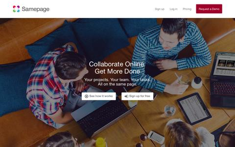 Screenshot of Home Page samepage.io - Samepage | Online Collaboration - captured Sept. 12, 2015