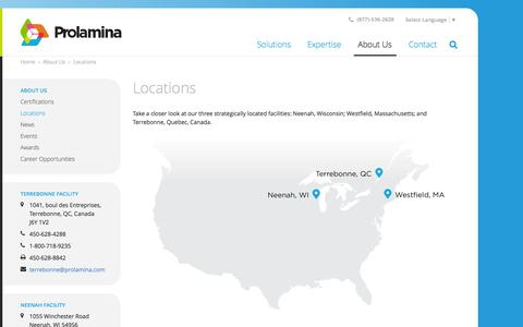 Screenshot of Locations Page prolamina.com - Tour Our Locations | Neenah, Westfield & Terrebonne | Prolamina - captured Sept. 30, 2014