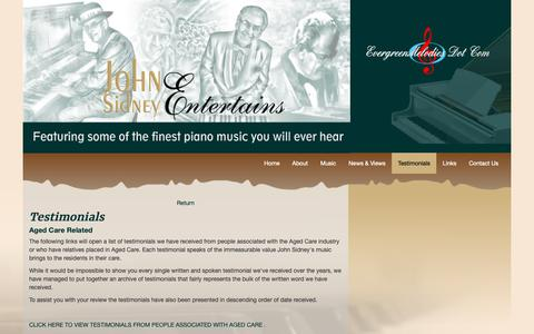 Screenshot of Testimonials Page evergreenmelodies.com.au - Evergreen Melodies - John Sidney Entertains - - captured Sept. 30, 2018