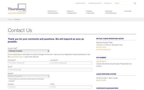 Screenshot of Contact Page thornburg.com - Contact Us - Thornburg Investment Management - captured Aug. 9, 2019