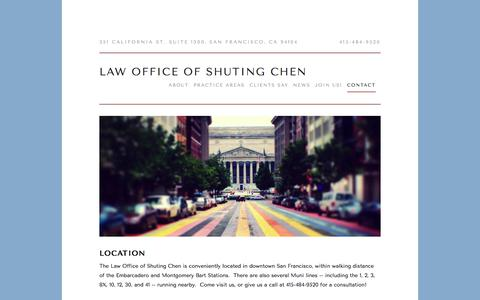 Screenshot of Contact Page chenlegal.com - Contact — Law Office of Shuting Chen - captured July 20, 2017