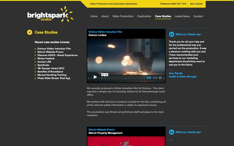 Screenshot of Case Studies Page brightsparkstudios.com - Video & DVD Production, Case Studies, Previous Projects | Brightspark Studios - captured Oct. 5, 2014