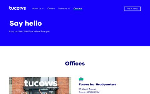 Screenshot of Contact Page tucows.com captured Oct. 9, 2019