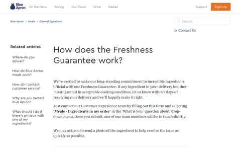 Screenshot of Support Page blueapron.com - How does the Freshness Guarantee work? – Blue Apron - captured April 28, 2017