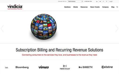Screenshot of Home Page vindicia.com - Subscription Billing & Online Recurring Payment Solutions | Vindicia - captured June 16, 2015