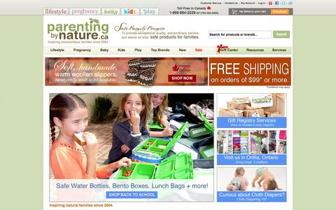 Screenshot of Home Page bynature.ca - Canada's Online Baby Store - Cloth Diapers in Canada - Baby Slings, Baby Carriers, Baby Gifts & Natural Toys in Canada - captured Sept. 23, 2014