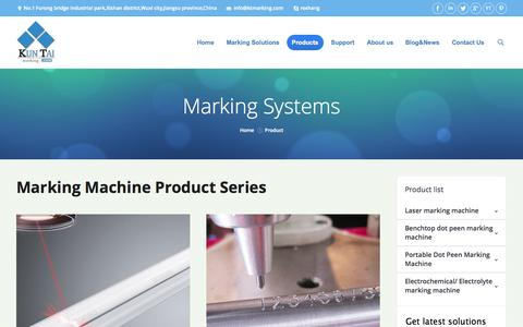 Screenshot of Products Page ktmarking.com - Marking machine: Best solutions for products traceability - captured Sept. 19, 2014