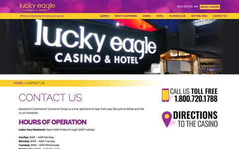 Screenshot of Contact Page luckyeagle.com - Contact Us | Lucky Eagle Casino - captured Sept. 30, 2018