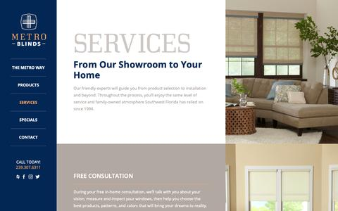 Screenshot of Services Page metroblindsfl.com - Services – Metro Blinds - captured Oct. 18, 2018