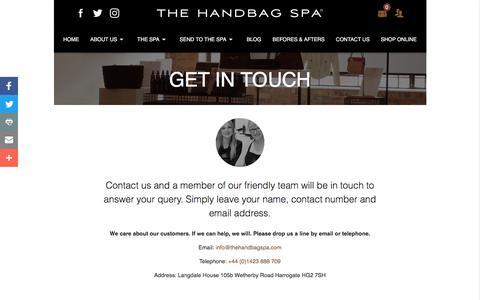 Screenshot of Contact Page thehandbagspa.com - Contact Us - The Handbag Spa - captured Oct. 22, 2017