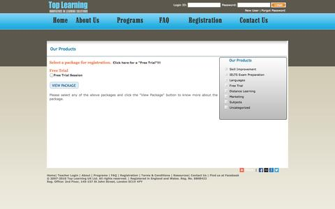 Screenshot of Trial Page toplearningonline.com - Top Learning - E-learning online learning - IELTS Online training - London- UK -  IELTS - English     | Free Trial - captured Oct. 7, 2014
