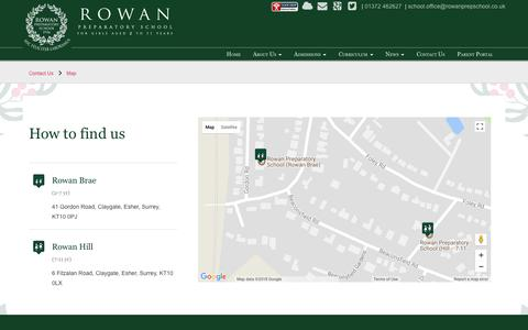 Screenshot of Maps & Directions Page rowanprepschool.co.uk - Rowan Preparatory School > Contact Us > Map - captured Feb. 19, 2018