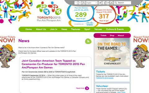 Screenshot of Press Page toronto2015.org - Pan Am Games News | Toronto 2015 Pan Am & Parapan Am Games - captured Sept. 24, 2014