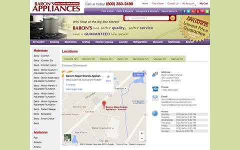 Screenshot of Contact Page Locations Page baronsmajorbrands.com - Baron's Major Brands 6 Locations - captured June 22, 2016