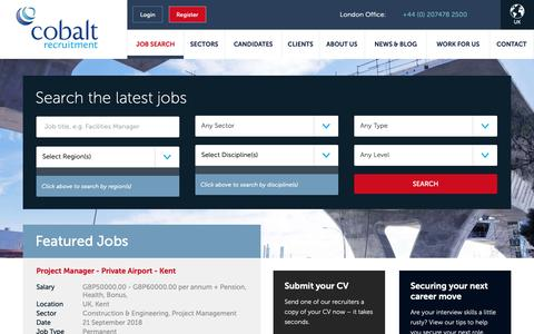 Screenshot of Jobs Page cobaltrecruitment.com - Kickstart Your Job Search! Search for Jobs with Cobalt - captured Sept. 28, 2018