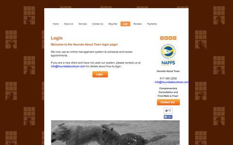Screenshot of Login Page houndsabouttown.com - Login - captured Oct. 3, 2014