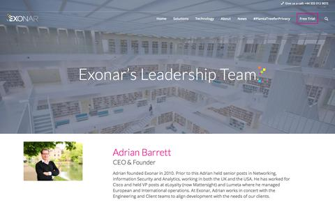 Screenshot of Team Page exonar.com - Leadership Team | EXONAR, the leadership team and Silicon Canal - captured July 22, 2018