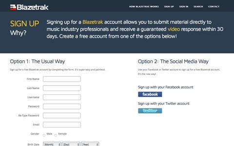 Screenshot of Signup Page blazetrak.com - Blazetrak | Direct video responses from music industry professionals - captured Aug. 2, 2018