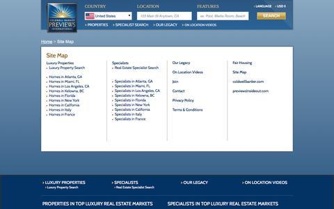Screenshot of Site Map Page coldwellbankerpreviews.com - Site Map   Coldwell Banker Previews International - captured Nov. 8, 2016