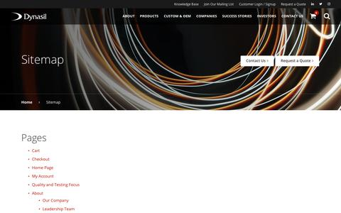 Screenshot of Site Map Page dynasil.com - Sitemap   Dynasil - captured Oct. 13, 2017