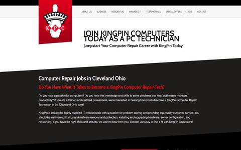 Screenshot of Jobs Page kingpincomputers.com - Computer Repair Jobs Cleveland, Computer Repair Careers Cleveland OhioKingPinComputers.com - captured Aug. 9, 2016