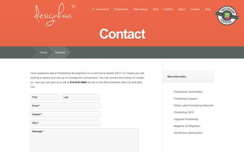 Screenshot of Contact Page dh42.com - Contact Tennessee based ecommerce, Prestashop, and SEO company - captured Nov. 3, 2014
