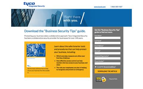 Screenshot of Landing Page tycois.com - Download the Business Security Tips Guide | TycoIS - captured Oct. 27, 2014