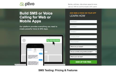 Screenshot of Landing Page plivo.com - Plivo: SMS Text & Voice Calling API - captured Oct. 14, 2016