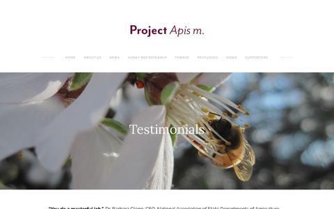 Screenshot of Testimonials Page projectapism.org - Testimonials - Project Apis m. - captured July 21, 2018