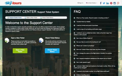 Screenshot of Support Page sky-tours.com - Sky-Tours Support Ticket System - captured Nov. 23, 2015