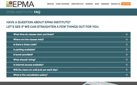 Screenshot of FAQ Page epmainc.com - FAQ | EPMA - captured Nov. 18, 2015