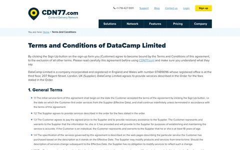 Screenshot of Terms Page cdn77.com - Terms And Conditions | CDN77.com - captured Sept. 19, 2014
